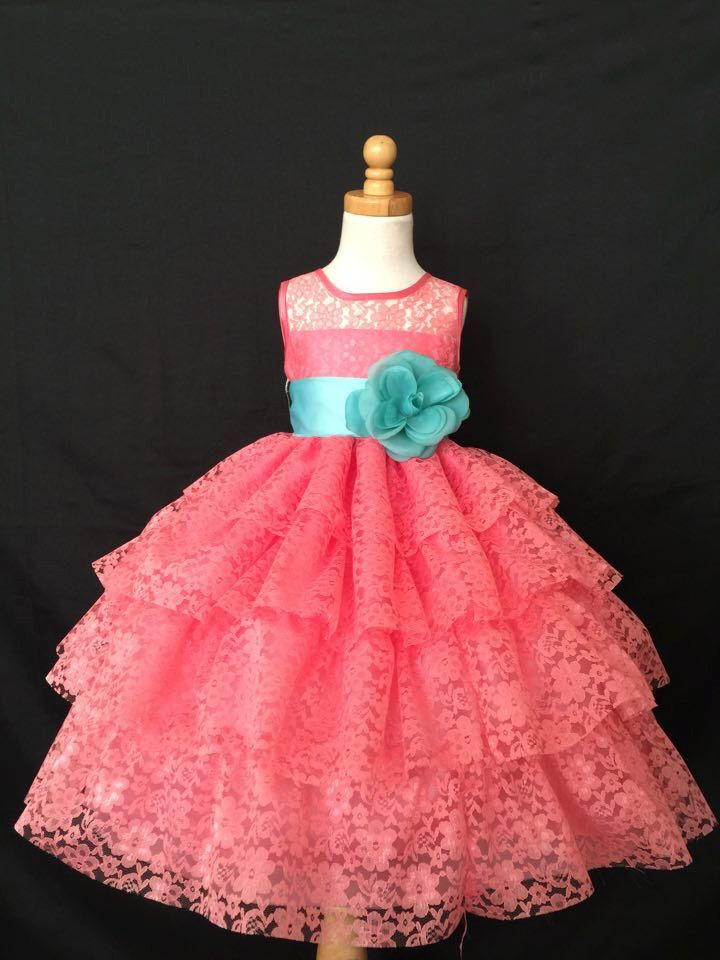 Flower Girl Bridesmaids Summer Easter Wedding Vintage Coral Lace Ruffle Pageant Recital Toddler Girl Dress S M L XL 2 4 6 8 10 12 14 by Adore50 on Etsy https://www.etsy.com/listing/263815829/flower-girl-bridesmaids-summer-easter