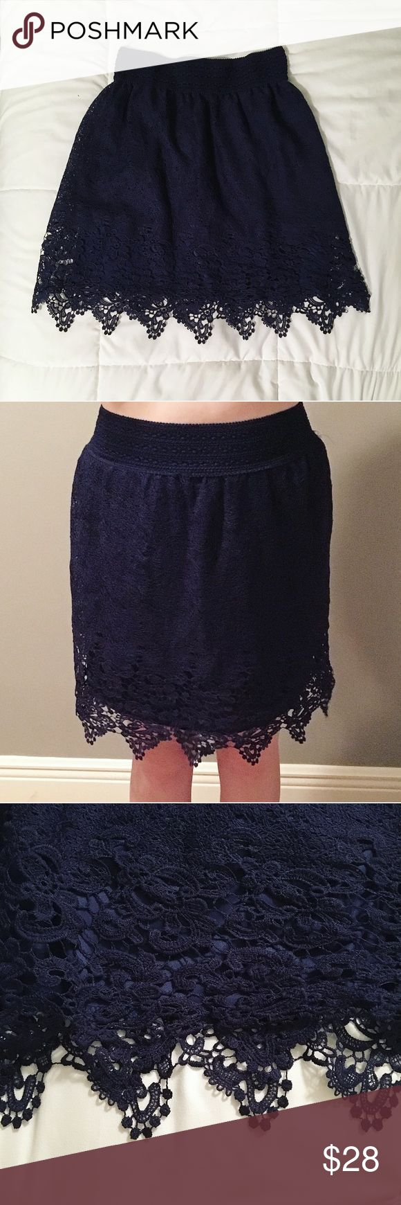 Navy Blue Lace Trim Skirt This skirt is brand new with tags. It has never been worn except for in the photos shown. It's lovely, but I'm just not much of a skirt person and forgot it was even in my closet. It deserves someone who will actually wear it. I'd love an offer! Francesca's Collections Skirts