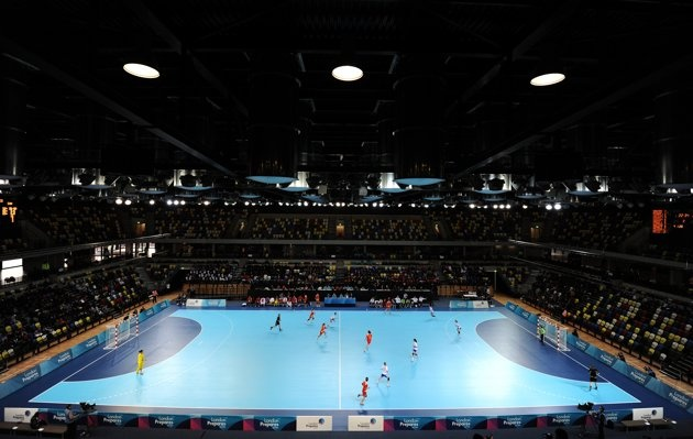 Players from China and Slovakia compete in a preliminary match in the Olympic test event series London Handball Cup in London November 23, 2011.