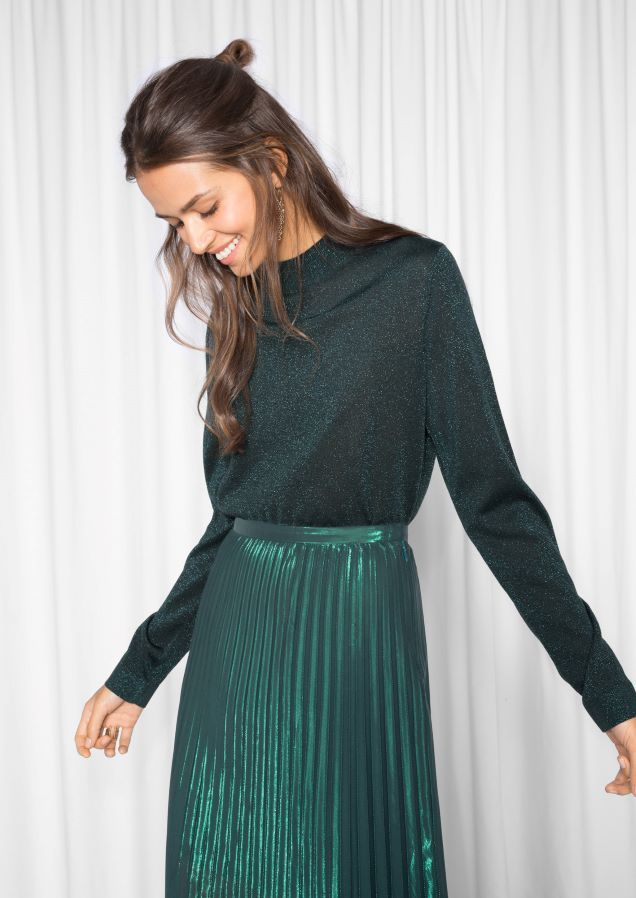 & Other Stories Fine Glittery Knit  in Green