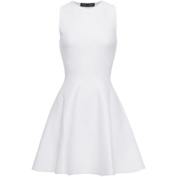 PROENZA SCHOULER Structured Flared White Cocktail dress with cut-out found on Polyvore