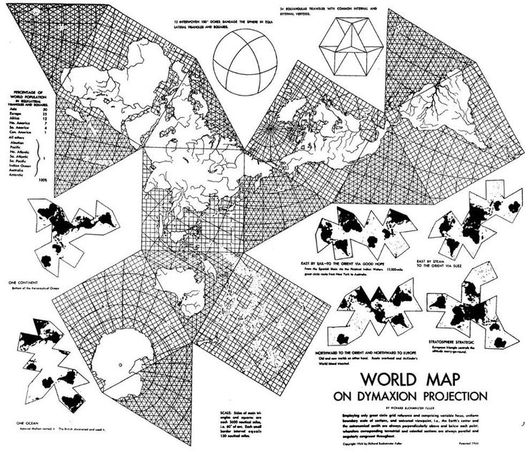 The Dymaxion Map by Buckminster Fuller. This is cool.