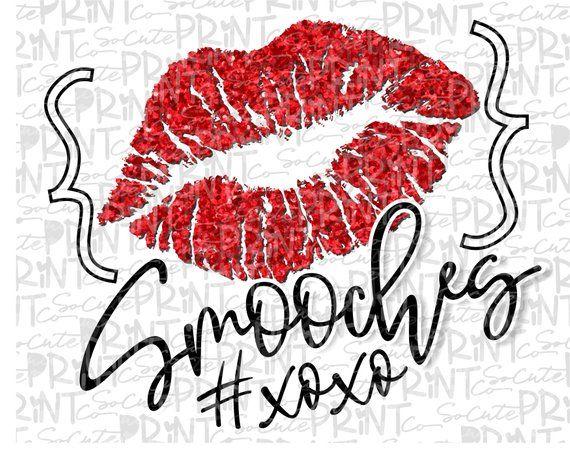 Valentines Day Smooches Glitter Lips Clipart Xoxo Clipart