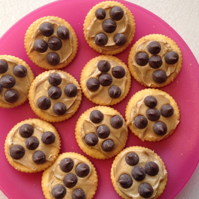 Ritz, peanut butter, chocolate chips - Such an easy snack... and YUMMY!