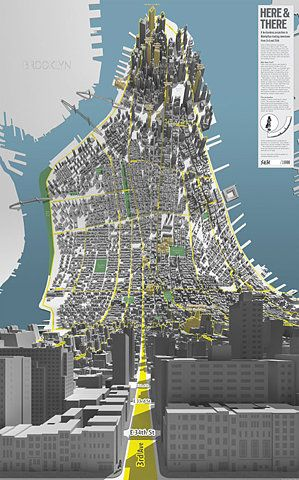 A horizonless map of new york. Wild perspective, really interesting.