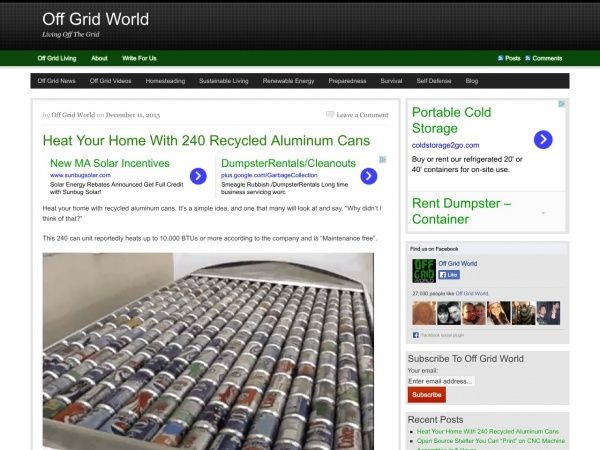 Off Grid World Heating Your Home With Pop Cans. Solar HeaterRecycled ...