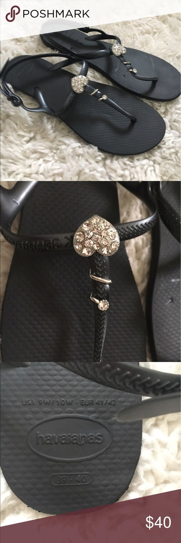 Black havaianas with silver heart bedazzle Black havaiana sandals, rubber size 9, worn once, pretty sparkle silver heart wrap around the tong of the sandal Havaianas Shoes Sandals