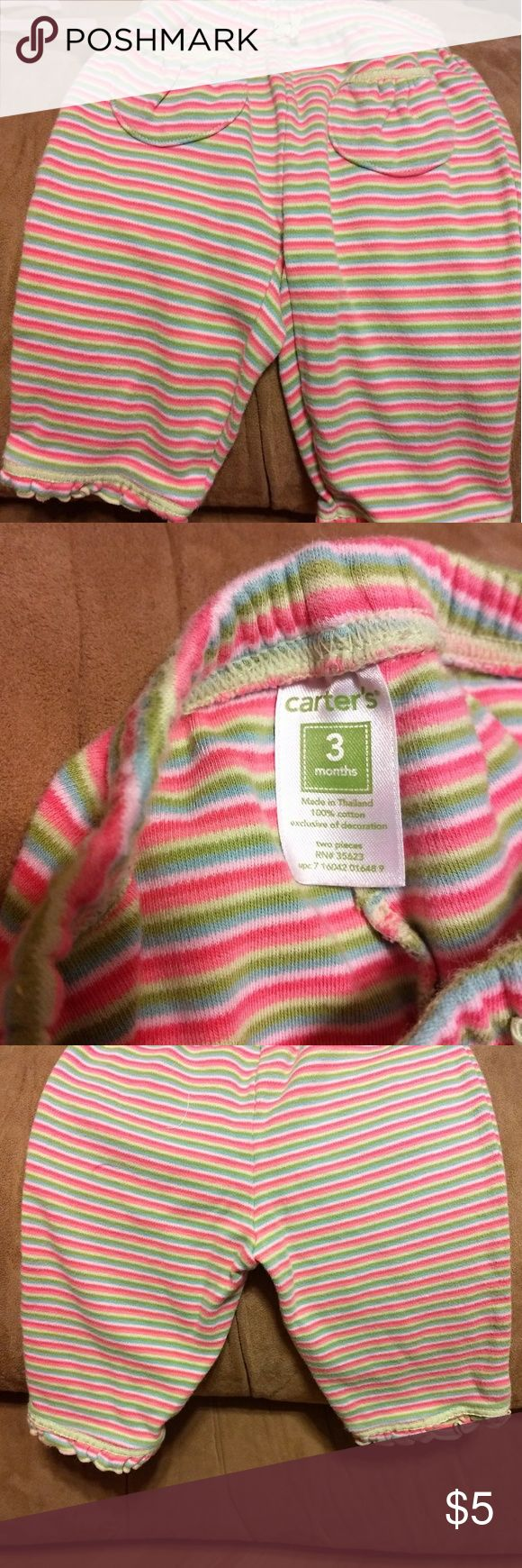 Striped pink and green soft little girls pants Soft and comfy little girls pants. Great condition. From smoke free home. Bottoms Sweatpants & Joggers