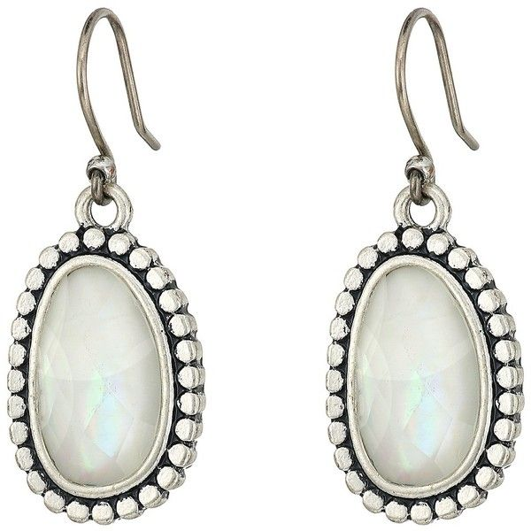 Lucky Brand Mother-of-Pearl Drop Earrings II (Silver) Earring ($29) ❤ liked on Polyvore featuring jewelry, earrings, silver hook earrings, lucky brand jewellery, lucky brand jewelry, hook earrings and mother of pearl jewelry