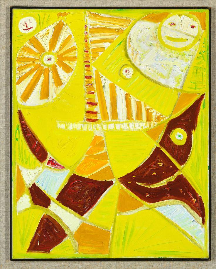 Egill Jacobsen: Maskekomposition i gult. Sign. på bagsiden EJ 76. Olie på lærred. 70 x 56.