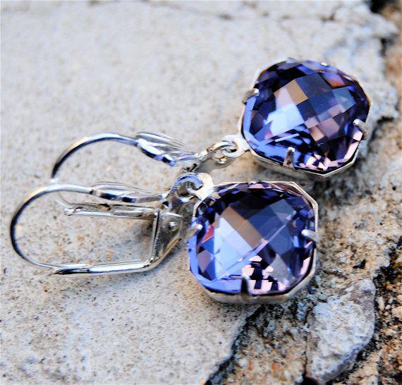 Vintage Savannah Super Sparklers - Tanzanite Ice Crystal & Vintage Silver Drop Earrings @}-,-;--