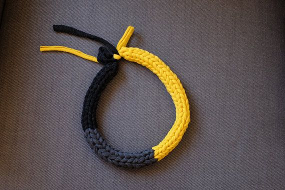 Necklace//yellow, grey, Black//jersey//piece//handmade