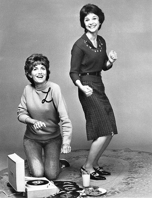 Laverne & Shirley with their vinyl and portable record player. ipod not wanted