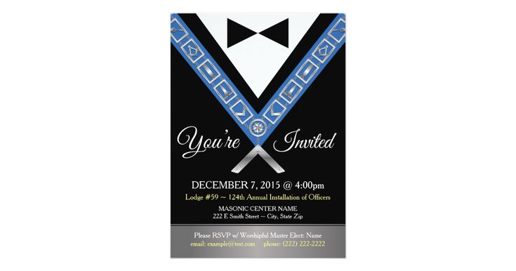 These classy custom masonic invitations will bring a touch of elegance to your Annual Installation of Officers or other special lodge event. This 5 x 7 custom invite depicts a modern formal tux and bow tie with a mason jewel of office. The back side features the square and compass symbol of freemasonry with plenty of room to add your personalized text. Keep these masonry invitations double-sided, or simply delete the text and artwork from the back for a single-sided design. Complement these…