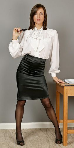 White Satin Blouse Black Satin Pencil skirt and High Heels ...