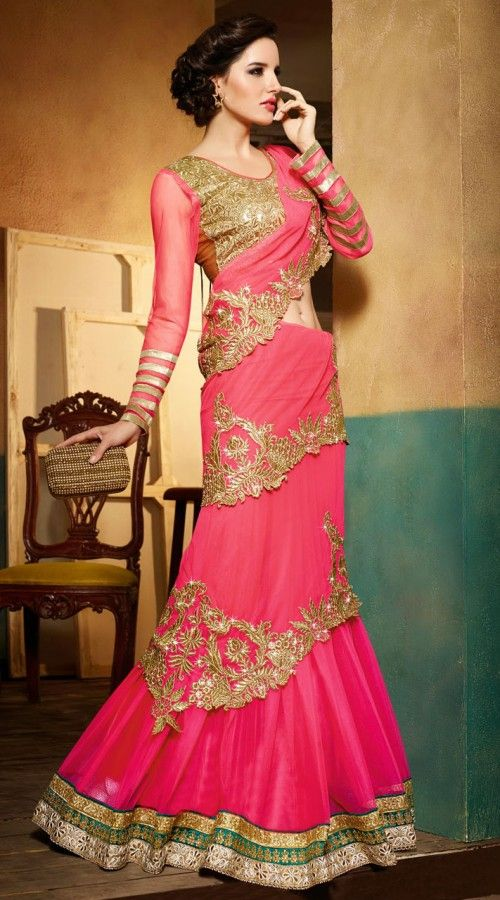 Pink Net Mumtaz Style Lehenga Saree With Gold Embroidered Blouse
