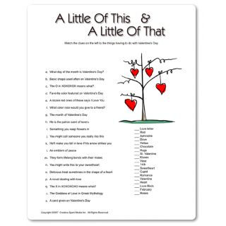 Valentines day trivia for your party...or just for fun! Printable Valentines game.