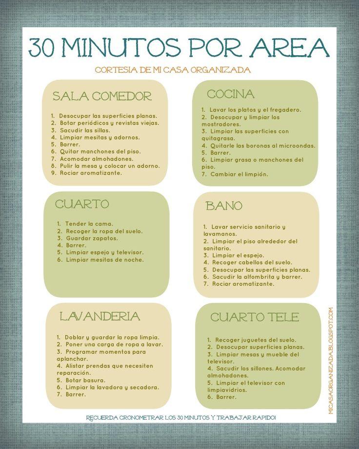 Mi Casa Organizada: Imprimible: Lista de Tareas 30 Minutos Por Área