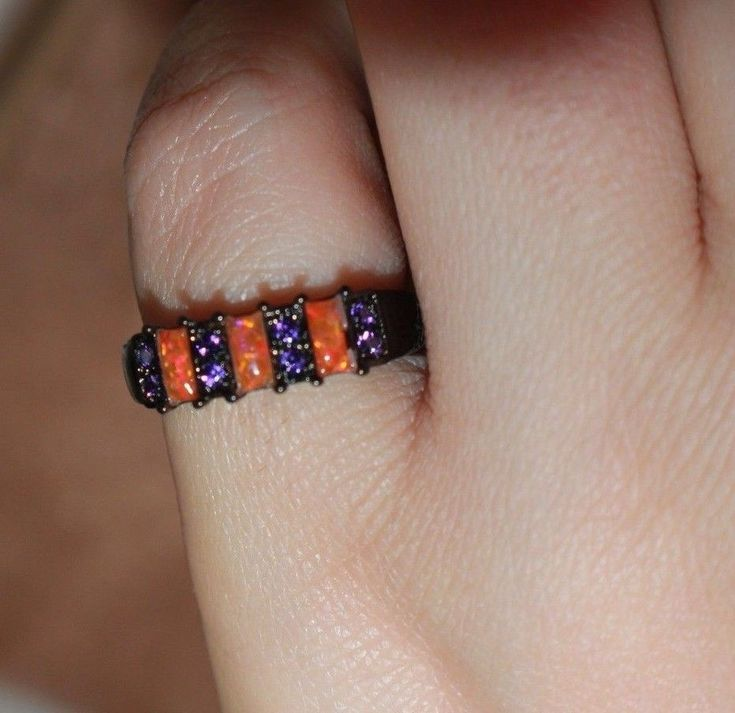 orange fire opal Amethyst ring gems black gold filled jewelry 5.5 wedding band #Cocktail