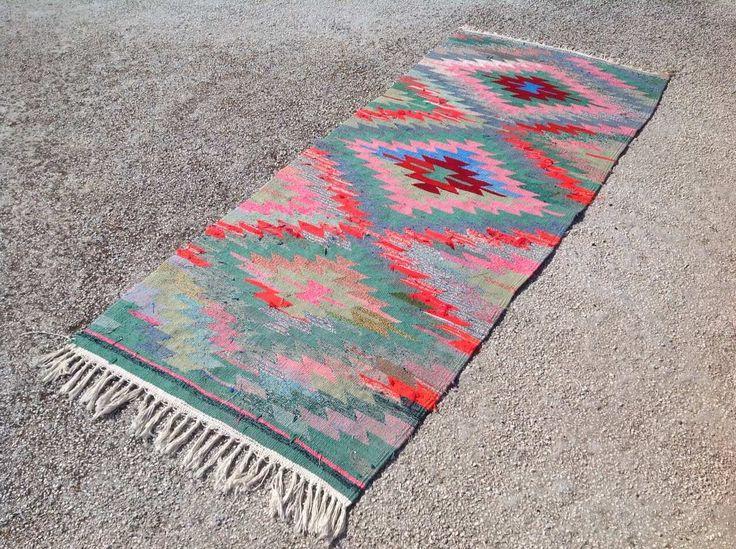 """Aztec runner, Turkish kilim runner, 80"""" x 32.5"""", runner, pink kilim,  runner rug, vintage kilim rug, bohemian runner rug, Turkish rug, 025 by PocoVintage on Etsy https://www.etsy.com/listing/467560777/aztec-runner-turkish-kilim-runner-80-x"""