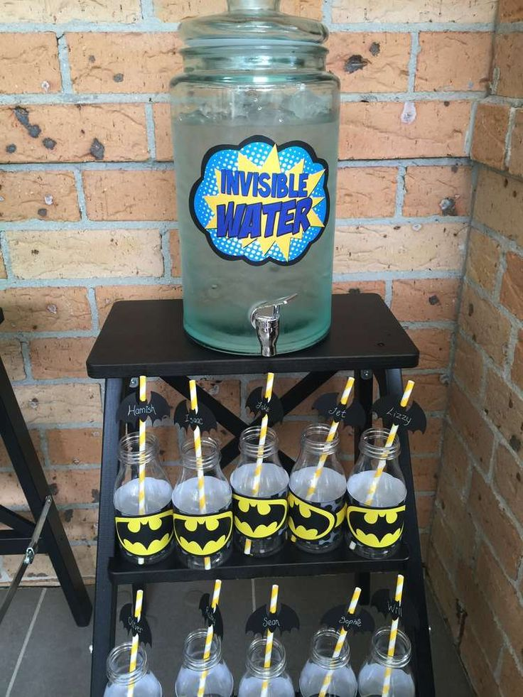 Invisible water at a Batman birthday party! See more party planning ideas at CatchMyParty.com!