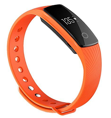 Vgsion ID107SmartBraceletHeartRateWristbandMonitorOLEDDisplayFitnessTrackTPEMaterialForAndroidIOSSystemOrange ** You can find out more details at the link of the image.