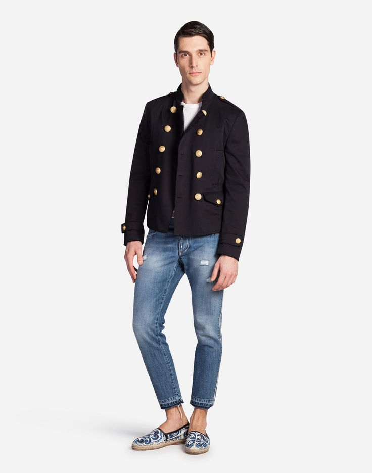 New Arrivals Men's Clothes | DG Online Store - DOUBLE-BREASTED BLAZER IN COTTON