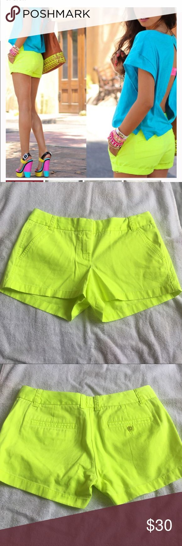 J. Crew Shorts Excellent condition J. Crew neon lime green broken in chino shorts. Size 6. 100% cotton. No trades, offers welcome. J. Crew Pants