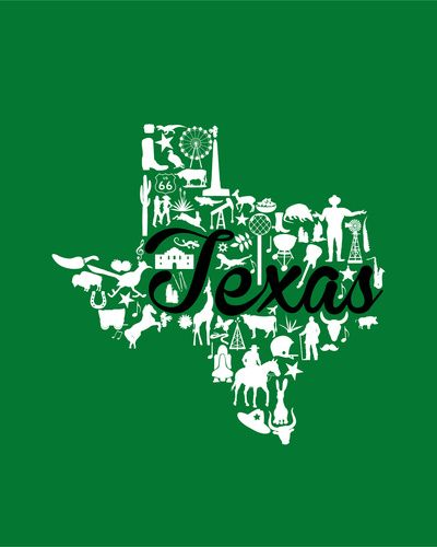 North Texas University Landmark State - Green and Black North Texas University Theme Art Print