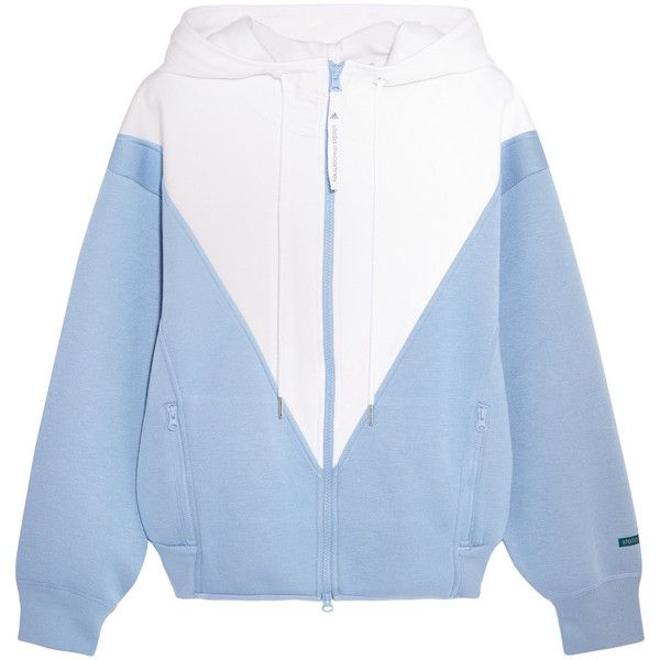 Adidas by Stella McCartney Studio hooded two-tone modal-jersey jacket (£77) ❤ liked on Polyvore featuring jackets, clothing - outerwear, outerwear and adidas