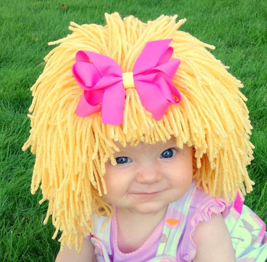 Baby Hat Blonde Wig Hat  Girl Wig Halloween Costume by YumBaby, $34.95    #baby wig #cabbage ptch #costume #halloween #blonde #raggedy #ann #toddler costume