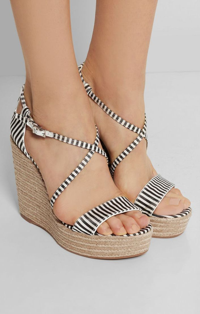 Jenny striped silk espadrille wedge sandals I love these shoes!