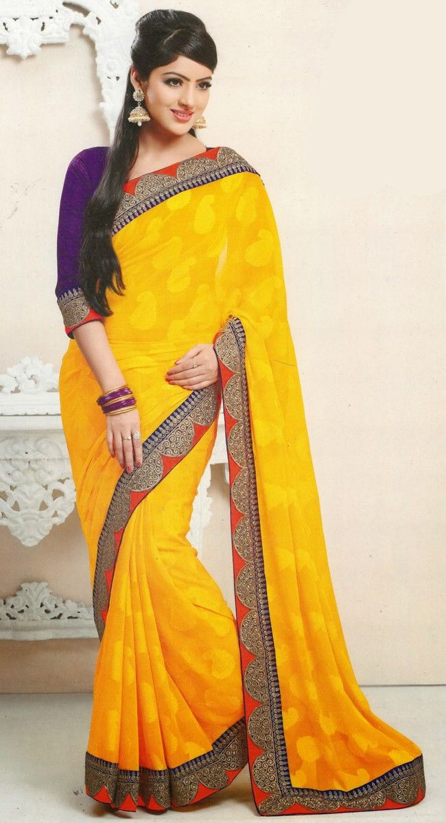 Plushy Gold Color Embroidered #Saree