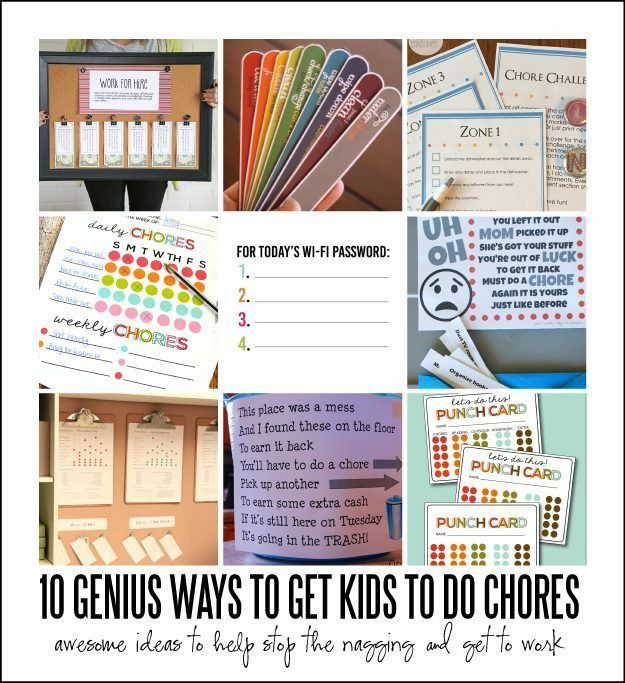 10 genius ways to get kids to do chores - fun ideas on how to encourage kids to do their work, teach them good habits and skills.