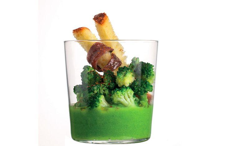 Crema di broccoli e alici del Cantabrico