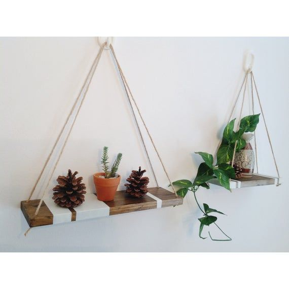 Set of 2 hanging shelves | hanging shelf with white stripes | floating rope shelves | hanging rope shelves | indoor wall planter holder