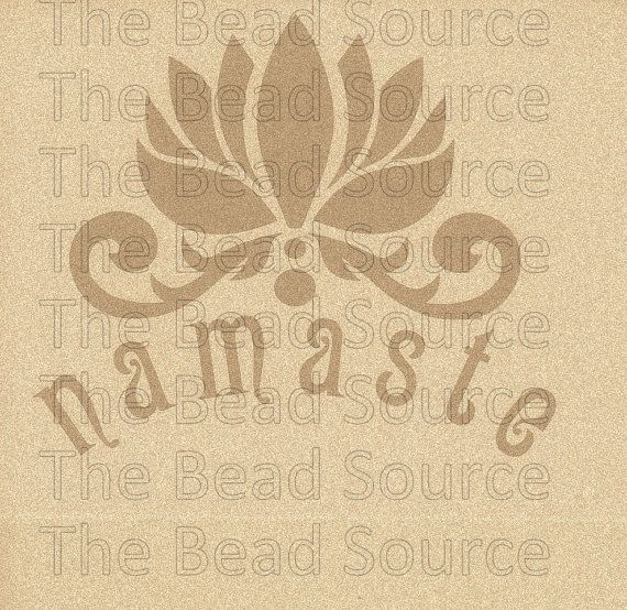 Namaste Lotus Flower mylar stencil offered in sizes from 5.5 to 7.5 .. a peaceful Yoga inspired design and perfect for the creative Yogini  Image size: 5.5 wide x 4.0 tall (at widest points) Image size: 6.5 wide x 5.0 tall (at widest points) Image size: 7.5 wide x 6.0 tall (at widest points) precision cut for you on industry standard reusable Duralar Mylar, a high performance 5mil clear polyester film / 5mil = .005 = 127 micron  - proper care is essential for great results and a cleaning…
