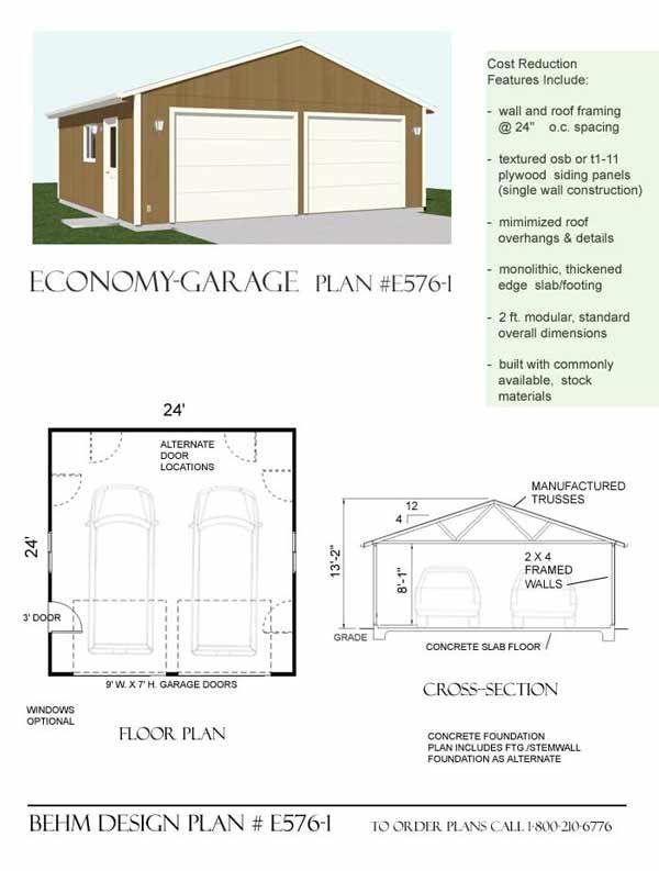 Economy two car garage plan e576 1 24 39 x 24 39 by behm for Garage plans pdf