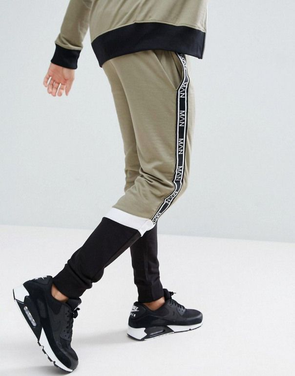 boohooMAN Joggers With Block Detail In Khaki Multi #men