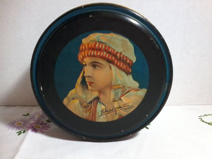 1920's Rudolph Valentino  canco tin illustrated by Henry Clive for Paramount pictures by MajorVintageShop on Etsy