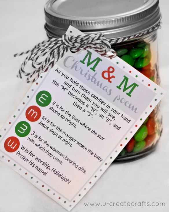 cute handout for Santa to give. Or as a party favor. M & M Christmas Poem / Christmas Party Favor