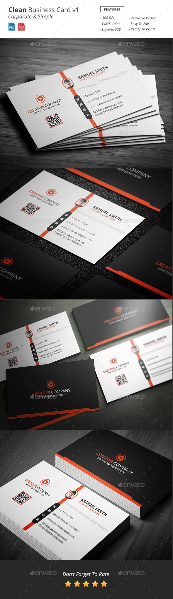 Clean - Corporate Business Card Template #design Download: http://graphicriver.net/item/clean-corporate-business-card-v1/12240781?ref=ksioks