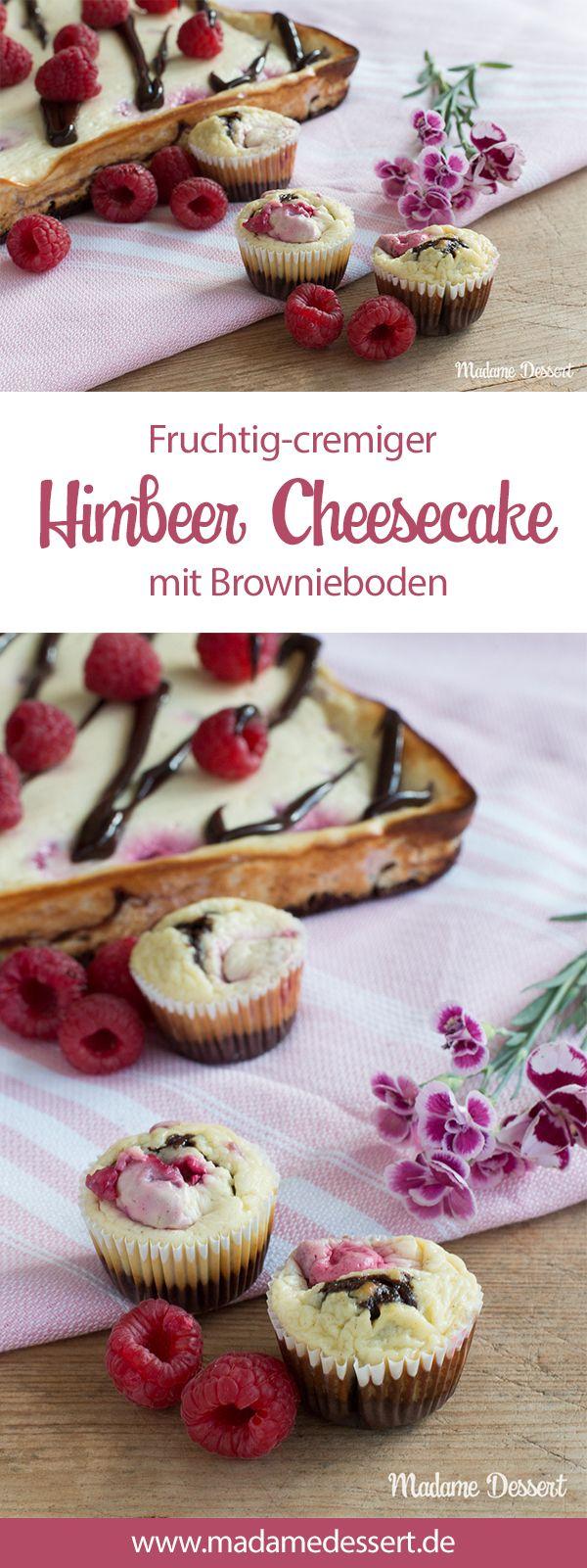 Rezept für fruchtig leckeren Himbeer Cheesecake mit Brownie Boden – Perfekt für Sommer, Sonne, Strandausflug.