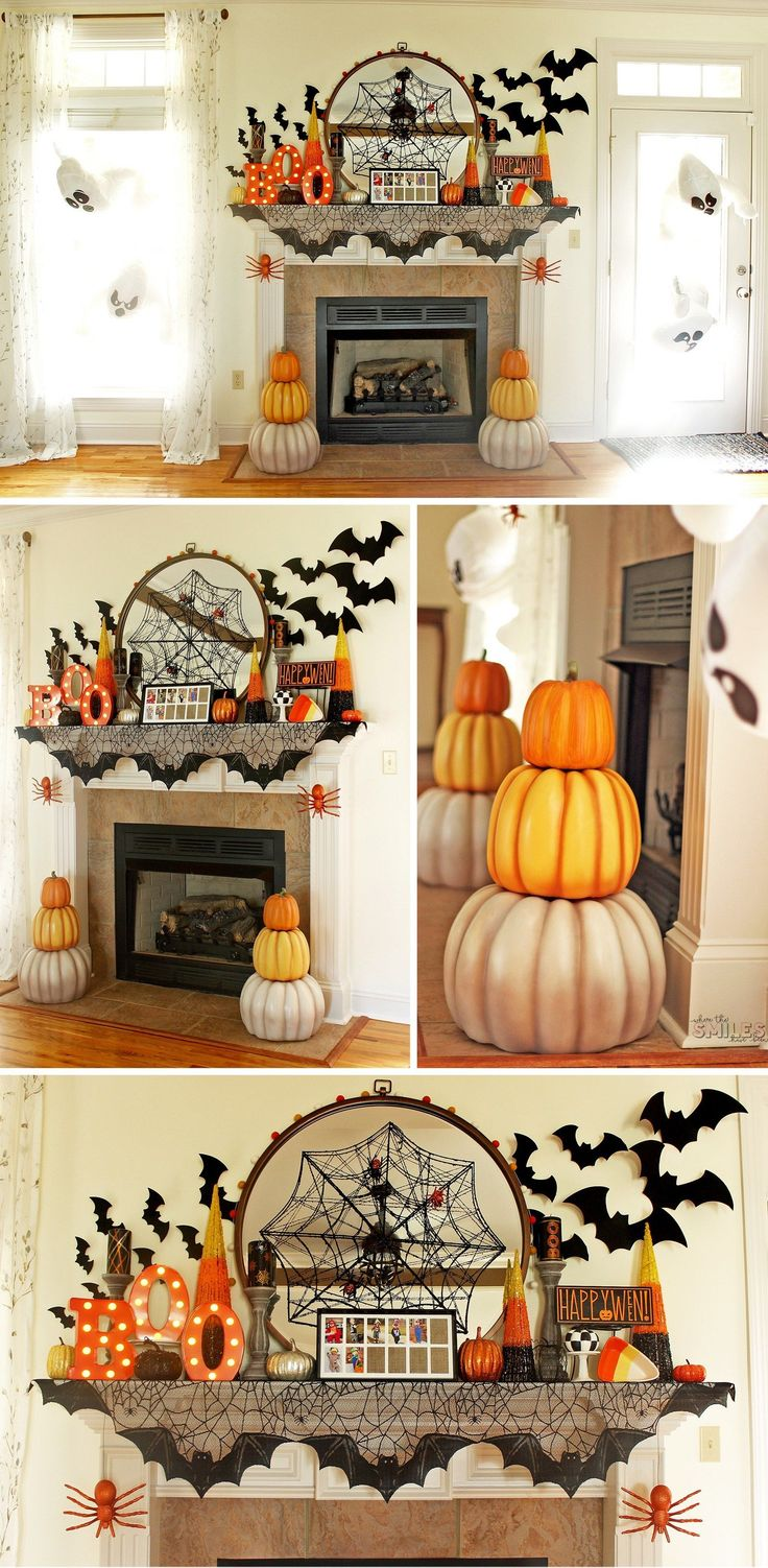 Halloween Mantel Decor: Pumpkins and Spiders and B…