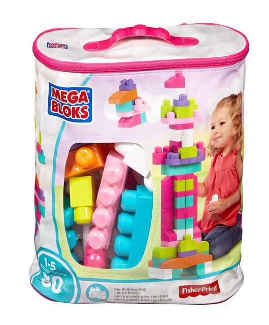 Mega Blocks First Builders Pink The 80 piece Maxi Blocks Classic Bag by Mega Blocks includes 80 big building blocks!  These Mega Bloks were designed specifically for toddlers.  First Builders blocks are easy to hold, stack and take apart.