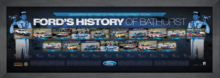 This magnificent framed piece celebrates every Ford Bathurst victory. It is strictly limited to 1000 units only and is accompanied with a Certificate of Authenticity. It is endorsed by the V8 Supercars. Image is conceptual at this stage. Image will be updated if Ford wins Bathurst. Available approx 4 weeks after Bathurst Approx framed size 1400mm x 550mm