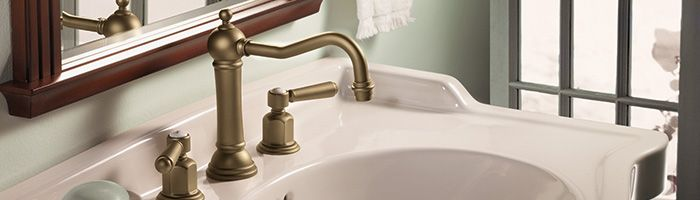 Topanga weathered brass bathroom faucet - handles with porcelain dots