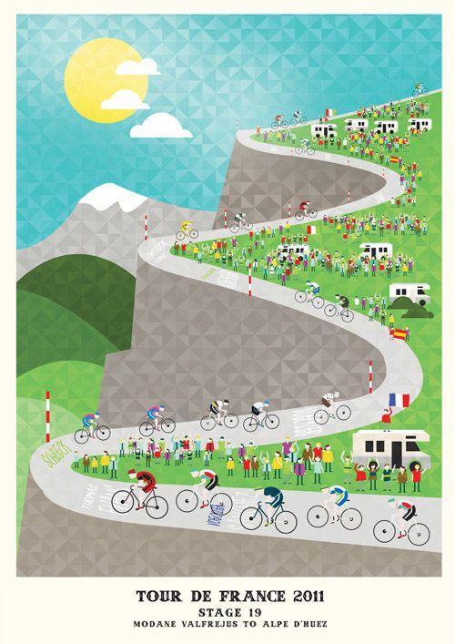 Stage 19, Modane Valfrejus to L'Alpe d'Huez, Tour de France Prints by Neil Stevens