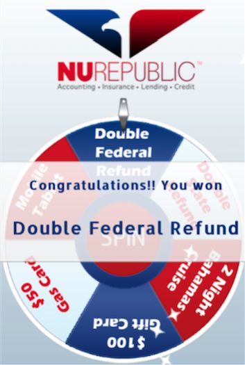 When you file your taxes with NuRepublic..everyone is a winner!!! Double your REFUND!! WIN a $50 free gas!! WIN a $100 GC!! WIN a FREE Tablet !! WIN a 2 night Bahamas Cruise!!  We guarantee to get the most $$ on your return than any other company. Ask how???  Call to get your free estimate  Also, get qualified for $1000 advance!!!  Call us at 832-409-2898 or message me. If you can't make it to us, we'll come to you!!