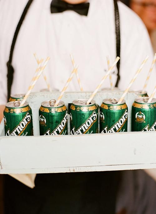 Greet guests as they arrive for the ceremony with an ice-cold can of made-in-Michigan Vernor's ginger ale | Brides.com